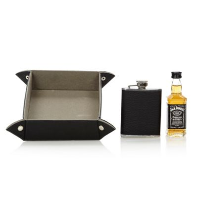 Whiskey and hip flask coin tray set