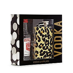 Debenhams - Smirnoff vodka and leopard print hip flask set
