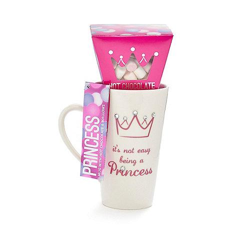 Debenhams - White +Princess+ mug and hot chocolate gift set