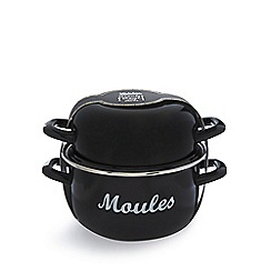 Debenhams - Black enamel moules bowl with herbs