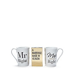 Debenhams - 'Mr And Mrs Always Right' mug and coffee set