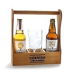 Debenhams - Wooden trug Cornish Orchards cider set
