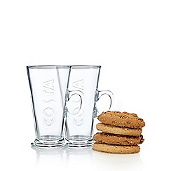 Costa - Latte glass set for two with Costa biscuits - 2 x 60g