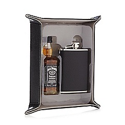 Jack Daniels - Black grained coin tray with a hipflask and bottle