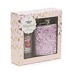 Debenhams - Pink glitter hip flask with vodka