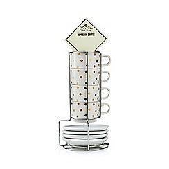 La Cucina - White polka dot print espresso cups and coffee set