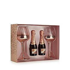 Debenhams - Rose gold wine glasses and sparkling rose set