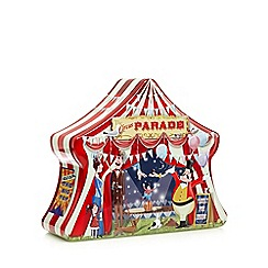 Debenhams - Multicoloured circus tent biscuit tin with biscuits 450g