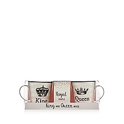 Debenhams - Set of king and queen mugs with cappuccino drink mix