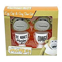 Debenhams - Monkey egg cup and knitted cosy duo set