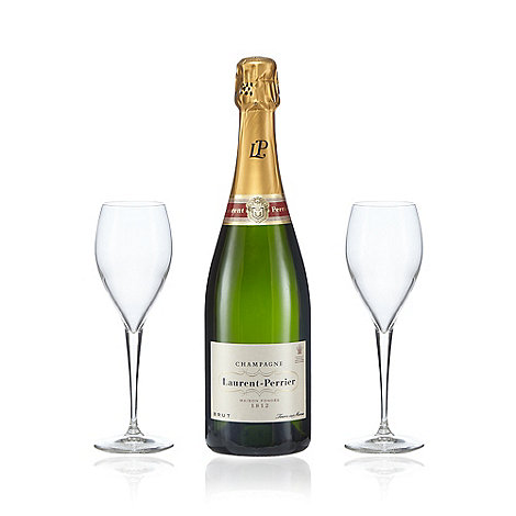 Laurent Perrier - Bottle of champagne with two flutes gift set