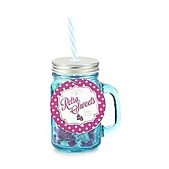 Sweet Shop - Blue glass jar and swizzles sweets