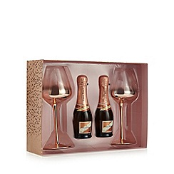 Debenhams - Rose gold wine glasses and sparkling rose set