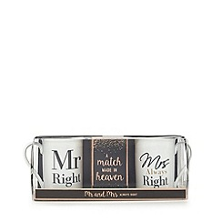 Debenhams - 'Mr Right' and 'Mrs Always Right' print mugs and roast coffee set