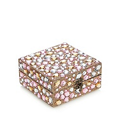 Debenhams - Multi-coloured stone trinket box with milk and white chocolates