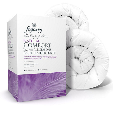 Fogarty - 13.5 tog +Natural comfort+ all seasons duck feather natural duo duvet (4.5 + 9 tog)