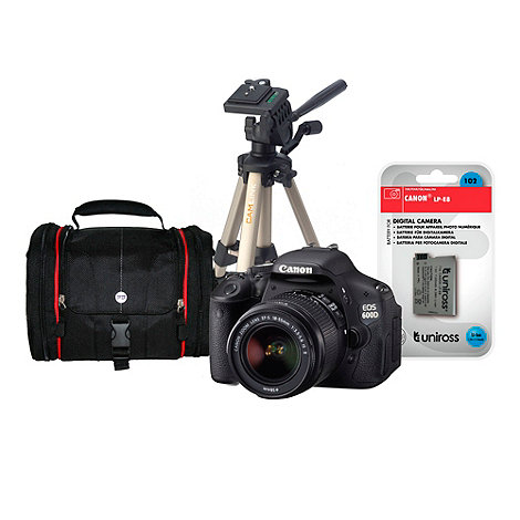 Canon - EOS 600D SLR camera kit with 18-55mm lens, bag, tripod and battery
