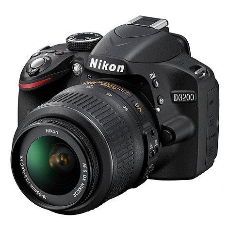 Nikon - D3200 SLR camera black with 18-55mm VR lens kit