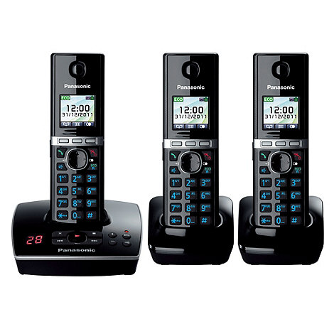 Panasonic - Black +KX-TG8063EB+ cordless telephone trio