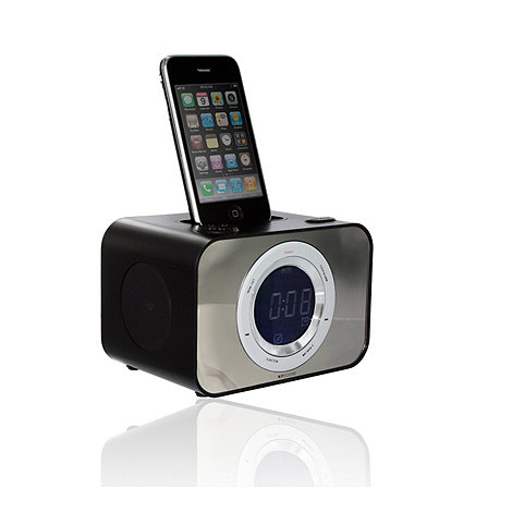 KitSound - Black clock dock with ipod dock
