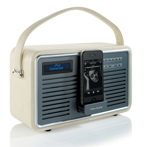 Viewquest - Cream +Retro DAB Radio+ with iPod dock in cream