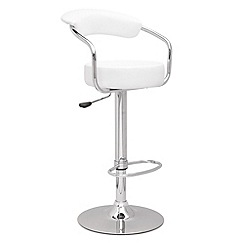 Debenhams - White 'Meteor' gas lift bar stool