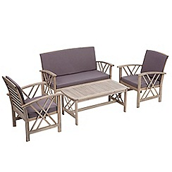 Debenhams - Grey acacia wood 'Panama' garden table, bench and 2 carver chairs