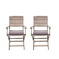 Debenhams - Set of 2 grey acacia wood 'Panama' dining chairs