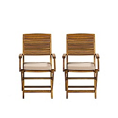 Debenhams - Set of 2 acacia wood 'Panama' dining chairs