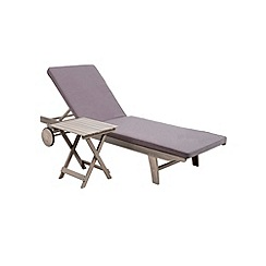 Debenhams - Grey acacia wood 'Panama' reclining garden sunlounger and side table