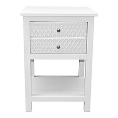Debenhams - White 'Agra' bedside cabinet with 2 drawers