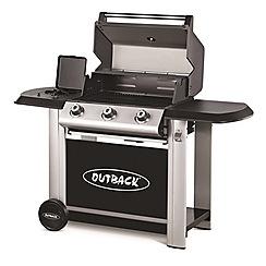 Outback - Black 'Magnum' 3 burner gas barbeque