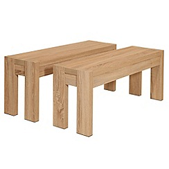 Debenhams - Pair of washed white oak effect 'Cleves' benches