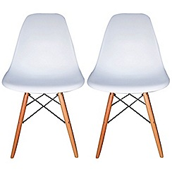 Debenhams - Pair of white 'Avignon' chairs
