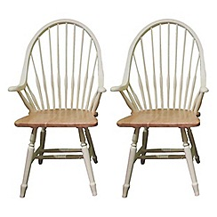 Debenhams - Pair of cream painted 'Eton' armchairs