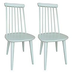 Debenhams - Pair of pale green painted 'Stowe' chairs