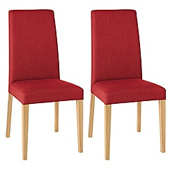 Debenhams - Pair of red 'Miles' tapered back upholstered dining chairs with light oak legs