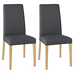 Debenhams - Pair of steel grey 'Miles' tapered back upholstered dining chairs with light oak legs