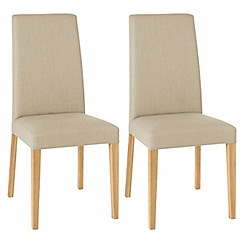 Debenhams - Pair of stone beige 'Miles' tapered back upholstered dining chairs with light oak legs