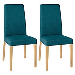 Debenhams - Pair of teal blue 'Miles' tapered back upholstered dining chairs with light oak legs