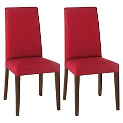 Debenhams - Pair of red 'Miles' tapered back upholstered dining chairs with dark wood legs