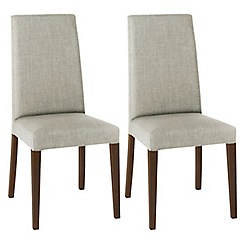 Debenhams - Pair of linen beige 'Miles' tapered back upholstered dining chairs with dark wood legs