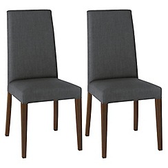 Debenhams - Pair of charcoal grey 'Miles' tapered back upholstered dining chairs with dark wood legs