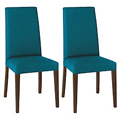 Debenhams - Pair of teal blue 'Miles' tapered back upholstered dining chairs with dark wood legs