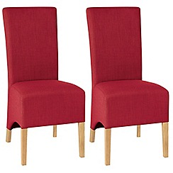 Debenhams - Pair of red 'Nina' wing back upholstered dining chairs with light oak legs