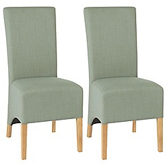 Debenhams - Pair of duck egg blue 'Nina' wing back upholstered dining chairs with light oak legs