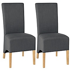 Debenhams - Pair of steel grey 'Nina' wing back upholstered dining chairs with light oak legs