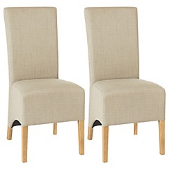 Debenhams - Pair of stone beige 'Nina' wing back upholstered dining chairs with light oak legs
