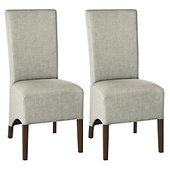 Debenhams - Pair of linen beige 'Nina' wing back upholstered dining chairs with dark wood legs