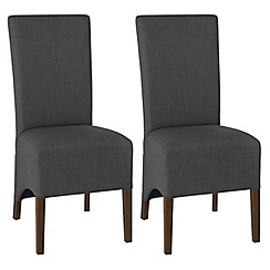 Debenhams - Pair of charcoal grey 'Nina' wing back upholstered dining chairs with dark wood legs